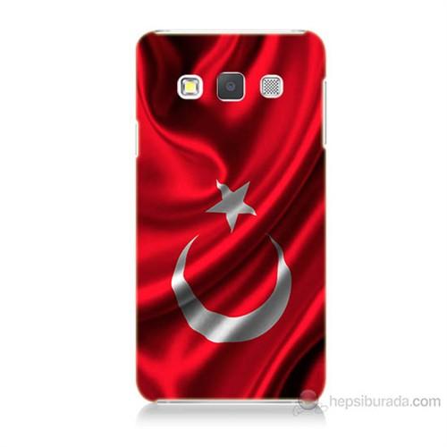 Teknomeg Samsung Galaxy A7 Kapak Kılıf Türkiye Bayrağı Baskılı Silikon