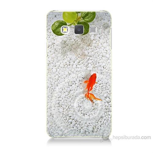 Teknomeg Samsung Galaxy A7 Kapak Kılıf Kırmızı Balık Baskılı Silikon