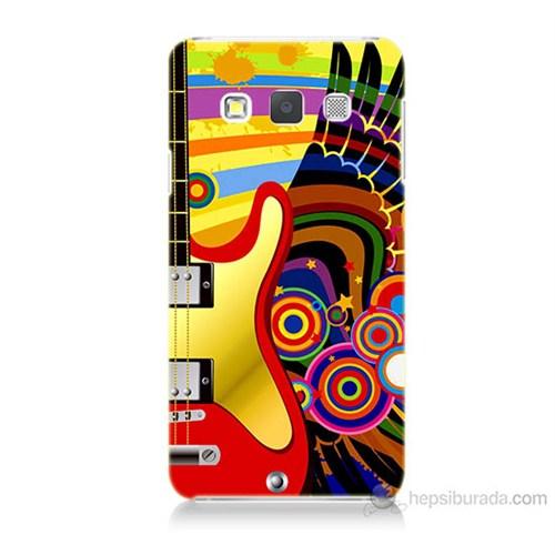 Teknomeg Samsung Galaxy A7 Kapak Kılıf Renkli Gitar Baskılı Silikon