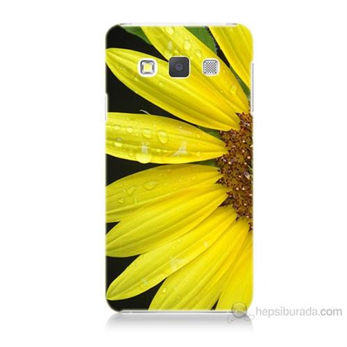Teknomeg Samsung Galaxy A7 Kapak Kılıf Sarı Çiçek Baskılı Silikon