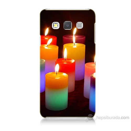 Teknomeg Samsung Galaxy A7 Kapak Kılıf Mumlar Baskılı Silikon