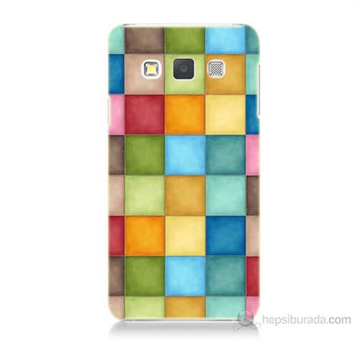 Teknomeg Samsung Galaxy A3 Kapak Kılıf Renkli Kareler Baskılı Silikon