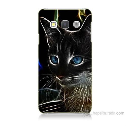 Teknomeg Samsung Galaxy A3 Kapak Kılıf Dumanlı Kedi Baskılı Silikon