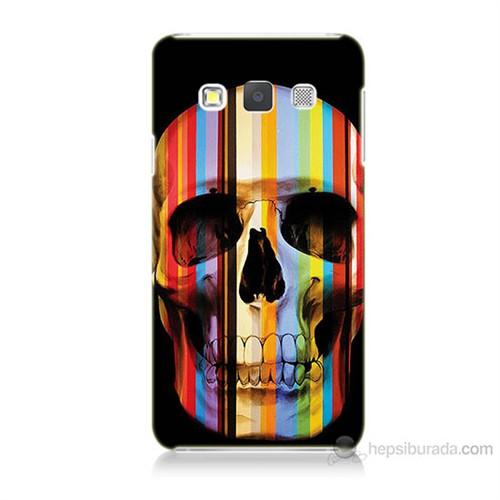 Teknomeg Samsung Galaxy A5 Kapak Kılıf Renkli Kurukafa Baskılı Silikon