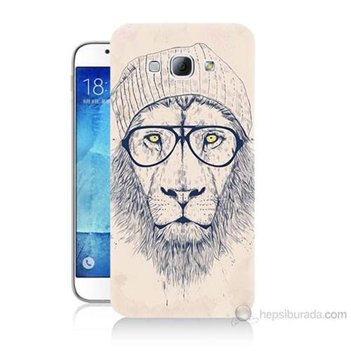 Teknomeg Samsung Galaxy A8 Kılıf Kapak Gözlüklü Aslan Baskılı Silikon