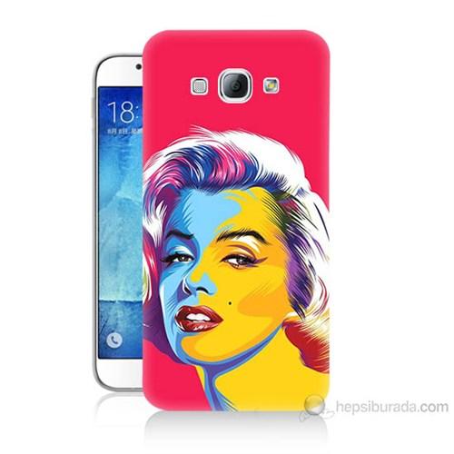 Teknomeg Samsung Galaxy A8 Kapak Kılıf Pop-Art Resim Baskılı Silikon