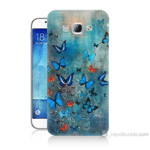 Teknomeg Samsung Galaxy A8 Kapak Kılıf Kelebekler Baskılı Silikon