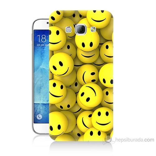 Teknomeg Samsung Galaxy A8 Kapak Kılıf Smile Baskılı Silikon