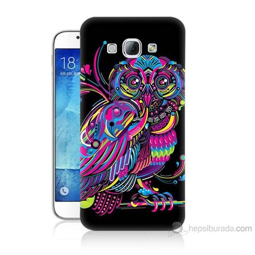 Teknomeg Samsung Galaxy A8 Kapak Kılıf Renkli Baykuş Baskılı Silikon