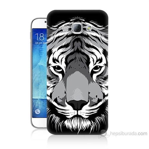 Teknomeg Samsung Galaxy A8 Kapak Kılıf Kaplan Baskılı Silikon