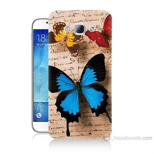 Teknomeg Samsung Galaxy A8 Kapak Kılıf Kelebek Baskılı Silikon
