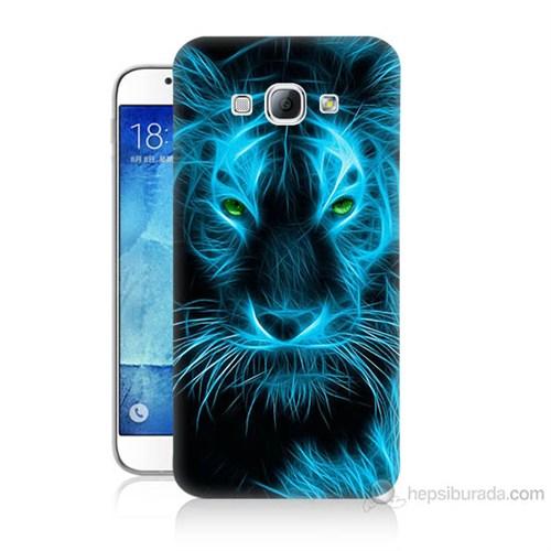 Teknomeg Samsung Galaxy A8 Kapak Kılıf Mavi Kaplan Baskılı Silikon