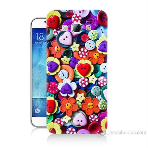 Teknomeg Samsung Galaxy A8 Kapak Kılıf Düğmeler Baskılı Silikon