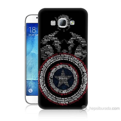 Teknomeg Samsung Galaxy A8 Kapak Kılıf Kaptan Amerika Baskılı Silikon