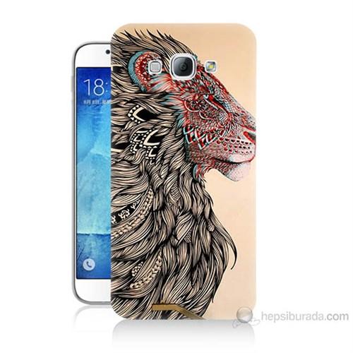Teknomeg Samsung Galaxy A8 Kapak Kılıf Aslan Baskılı Silikon