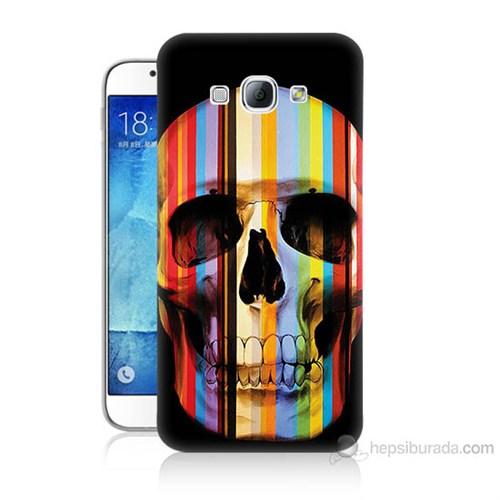 Teknomeg Samsung Galaxy A8 Kapak Kılıf Renkli Kurukafa Baskılı Silikon