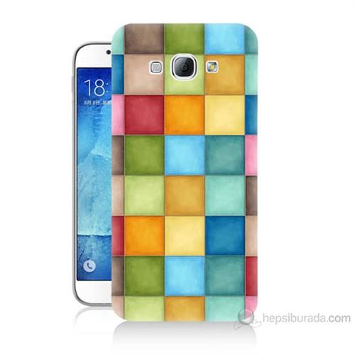 Teknomeg Samsung Galaxy A8 Kapak Kılıf Renkli Kareler Baskılı Silikon