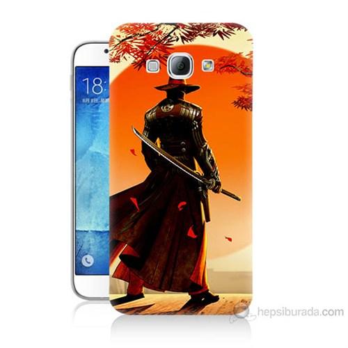 Teknomeg Samsung Galaxy A8 Kapak Kılıf Red Steel Baskılı Silikon