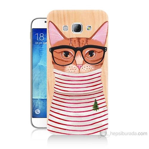 Teknomeg Samsung Galaxy A8 Kapak Kılıf Kedi Baskılı Silikon