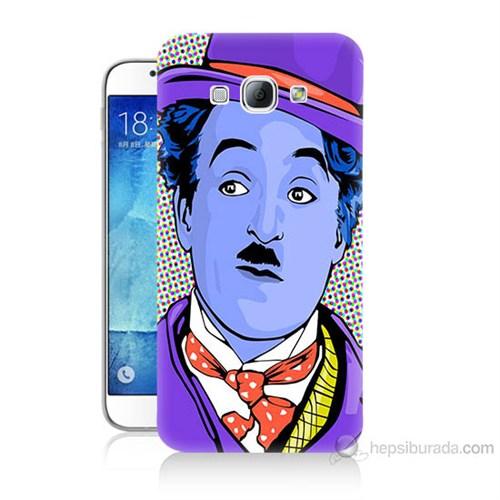 Teknomeg Samsung Galaxy A8 Kapak Kılıf Charlie Chaplin Baskılı Silikon
