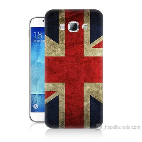 Teknomeg Samsung Galaxy A8 Kapak Kılıf İngiltere Bayrağı Baskılı Silikon