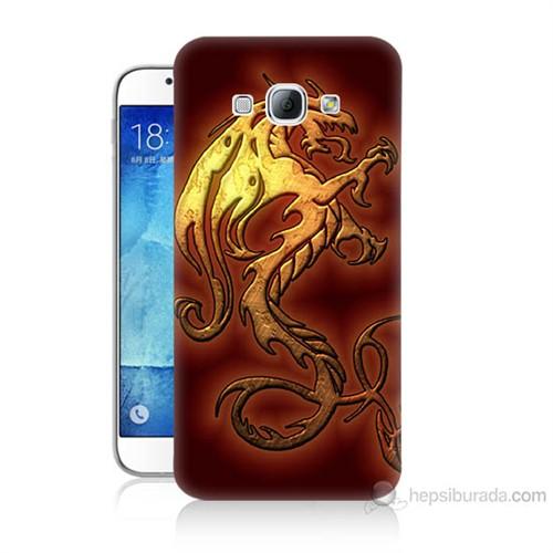 Teknomeg Samsung Galaxy A8 Kapak Kılıf Dragon Baskılı Silikon