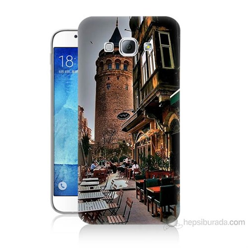 Teknomeg Samsung Galaxy A8 Kapak Kılıf Galata Kulesi Baskılı Silikon