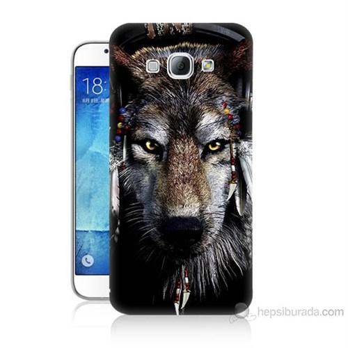 Teknomeg Samsung Galaxy A8 Kapak Kılıf Kızıldereli Kurt Baskılı Silikon