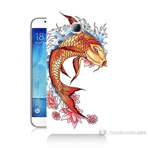 Teknomeg Samsung Galaxy A8 Kapak Kılıf Balık Baskılı Silikon