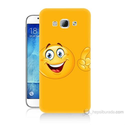 Teknomeg Samsung Galaxy A8 Kapak Kılıf Emoji Baskılı Silikon