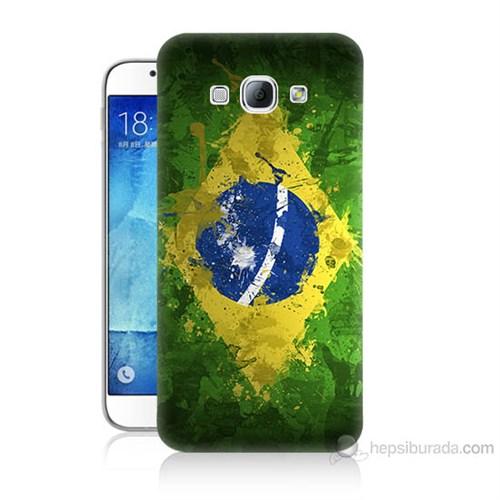 Teknomeg Samsung Galaxy A8 Kapak Kılıf Birezilya Bayrak Baskılı Silikon
