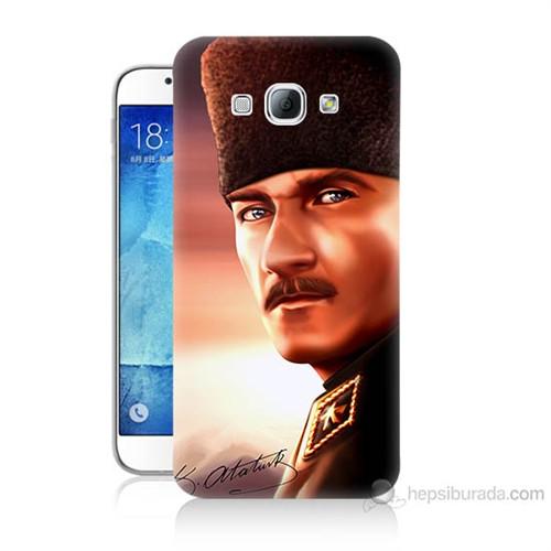 Teknomeg Samsung Galaxy A8 Kapak Kılıf Mustafa Kemal Baskılı Silikon