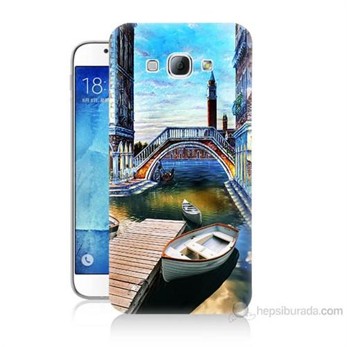 Teknomeg Samsung Galaxy A8 Kapak Kılıf Tekneler Tablo Baskılı Silikon