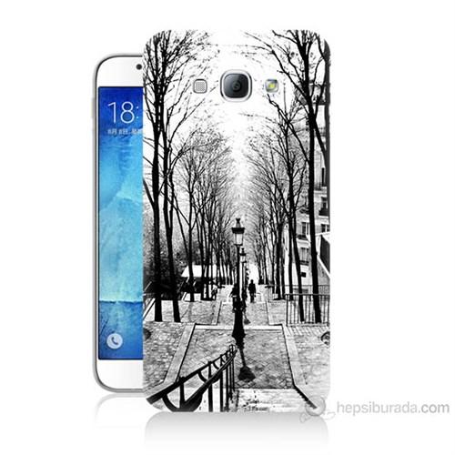 Teknomeg Samsung Galaxy A8 Kapak Kılıf Siyah Beyaz Baskılı Silikon