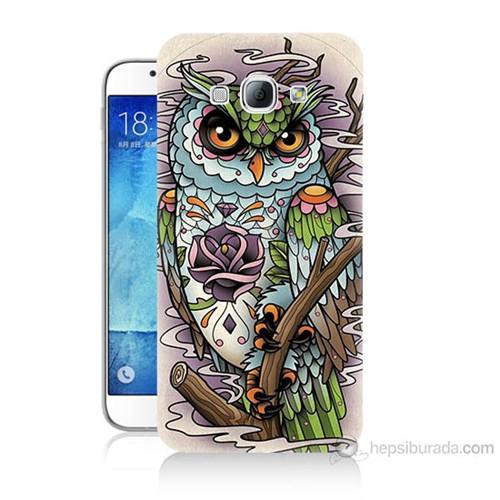 Teknomeg Samsung Galaxy A8 Kapak Kılıf Çiçekli Baykuş Baskılı Silikon