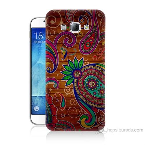 Teknomeg Samsung Galaxy A8 Kapak Kılıf Çiçek Deseni Baskılı Silikon