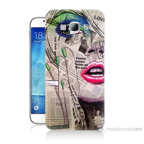 Teknomeg Samsung Galaxy A8 Kapak Kılıf Gazete Kadın Baskılı Silikon