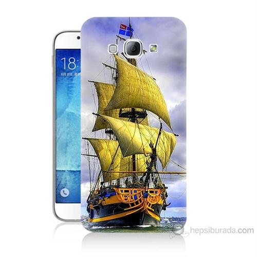 Teknomeg Samsung Galaxy A8 Kapak Kılıf Gemi Baskılı Silikon