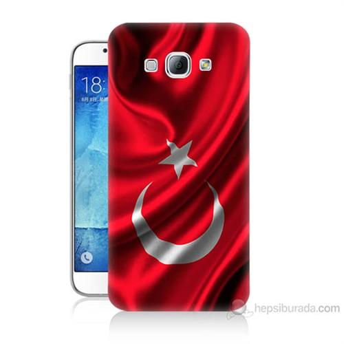 Teknomeg Samsung Galaxy A8 Kapak Kılıf Türkiye Bayrağı Baskılı Silikon
