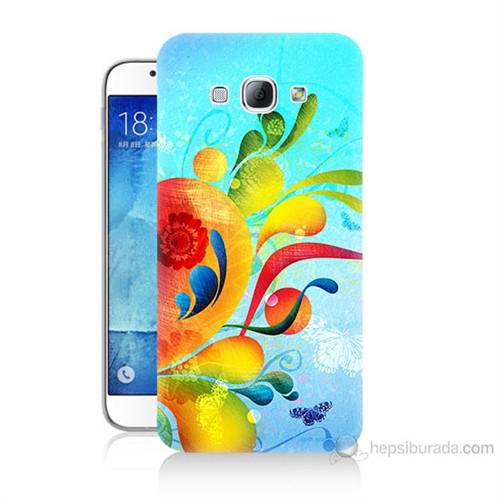 Teknomeg Samsung Galaxy A8 Kapak Kılıf Renkli Desen Baskılı Silikon