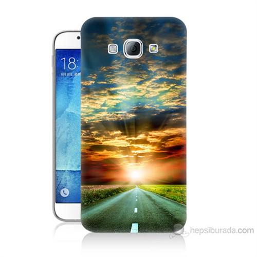 Teknomeg Samsung Galaxy A8 Kapak Kılıf Yol Baskılı Silikon