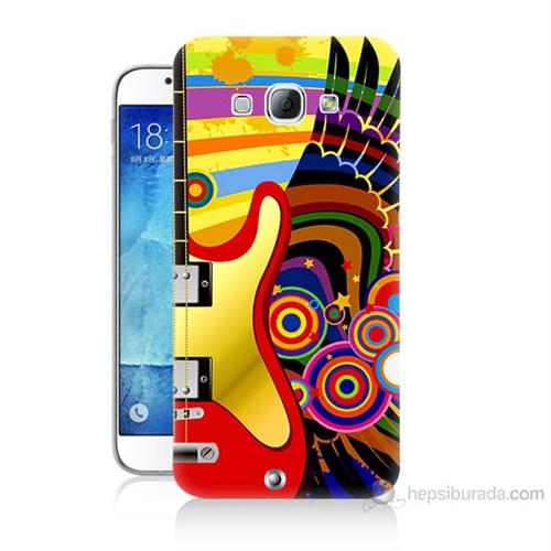 Teknomeg Samsung Galaxy A8 Kapak Kılıf Renkli Gitar Baskılı Silikon