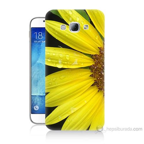 Teknomeg Samsung Galaxy A8 Kapak Kılıf Sarı Çiçek Baskılı Silikon