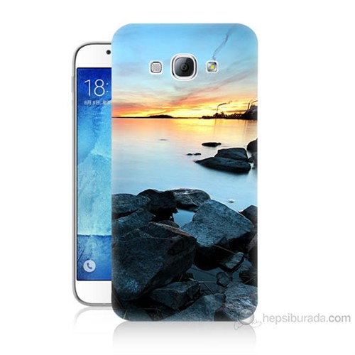Teknomeg Samsung Galaxy A8 Kapak Kılıf Kayalık Baskılı Silikon