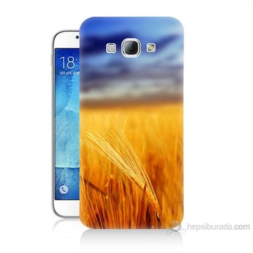 Teknomeg Samsung Galaxy A8 Kapak Kılıf Sarı Mavi Baskılı Silikon