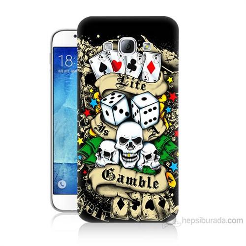 Teknomeg Samsung Galaxy A8 Kapak Kılıf Kumar Baskılı Silikon