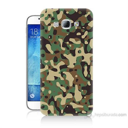 Teknomeg Samsung Galaxy A8 Kapak Kılıf Askeri Kamuflaj Baskılı Silikon