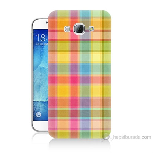 Teknomeg Samsung Galaxy A8 Kapak Kılıf Ekose Baskılı Silikon