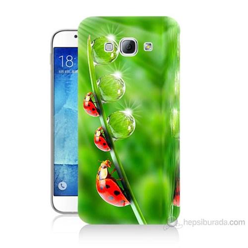 Teknomeg Samsung Galaxy A8 Kapak Kılıf Uğur Böcekleri Baskılı Silikon