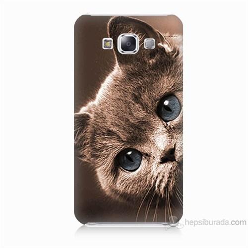 Teknomeg Samsung Galaxy E5 Kapak Kılıf Şirin Kedi Baskılı Silikon